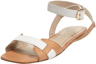 Elizabeth and James Two-Tone Ankle-Wrap Sandal, Tan
