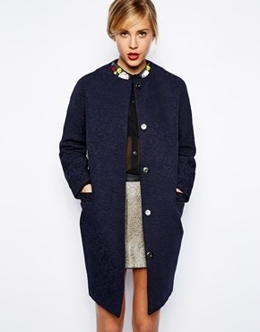 Asos Coat In Ornate Jacquard - Navy