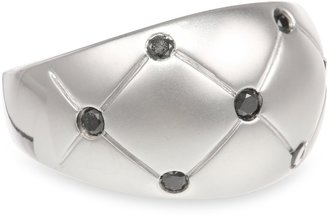 Black Diamond Sterling Silver Etched Matte Ring (1/4 cttw), Size 7