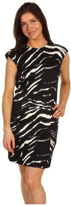 MICHAEL Michael Kors Petite Zebra Print Lace Up Shoulder Dress (Black) - Apparel