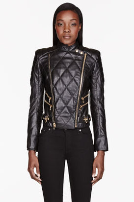 Balmain Black Leather Quilted Jacket