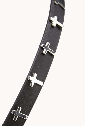 Forever 21 Faux Leather Cross Headband