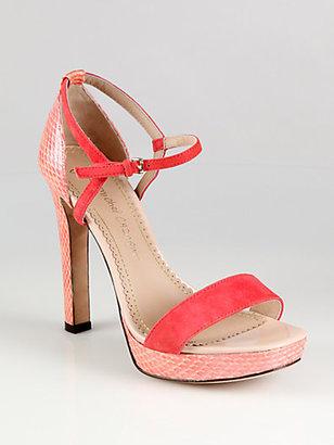 Jean-Michel Cazabat Haniba Lizard-Print Leather & Suede Ankle Strap Sandals