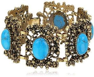 """Yochi Design Yochi Turquoise Stone Framed Bracelet, 6.5"""""""