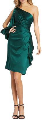Mac Duggal Asymmetric Slit-Sleeve Cocktail Dress