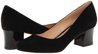 Cole Haan Chelsea Low Flared Heel (Black Suede/Patent) - Footwear