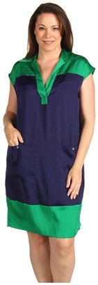 Klein Plus Anne Plus Size Colorblock Wedge Dress (Kelly Green) - Apparel