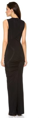 Donna Karan Keyhole Draped Evening Dress