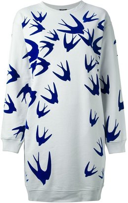 McQ by Alexander McQueen swallow print sweatshirt dress