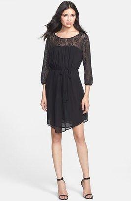 Velvet by Graham & Spencer Velvet Illusion Sleeve Blouson Dress