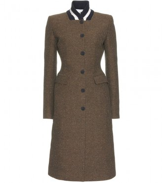 Stella McCartney WOVEN COAT WITH CONTRAST KNIT STRIPED COLLAR