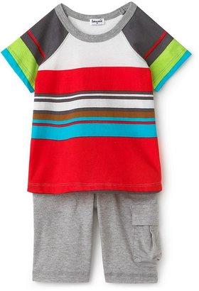 URBAN RESEARCH Splendid Littles Toddler Boys' Canyon Stripe Short Sleeve Raglan and Cargo Shorts Set - Sizes 2T-4T