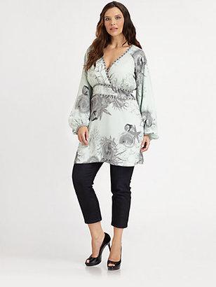 Sheri Bodell Sheri Bodell, Salon Z Silk Leather-Trim Tunic