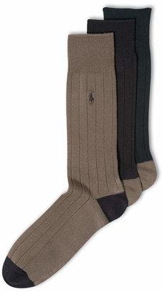 Polo Ralph Lauren Men Socks, Soft Touch Ribbed Heel Toe 3 Pack
