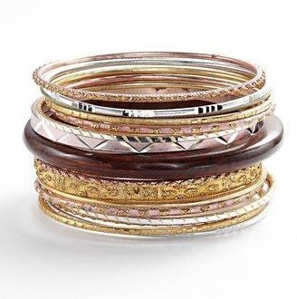 Mudd tri-tone wood and textured bangle bracelet set