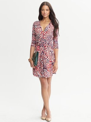 Issa Collection Red Ceramic Printed Three-Quarter Sleeve Dress