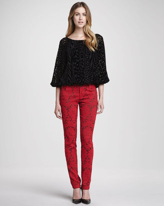 Alice + Olivia Brocade Skinny Jeans, Red