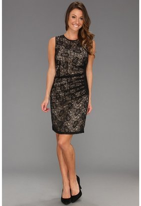 Vince Camuto Side Draped Lace Dress (Black) - Apparel