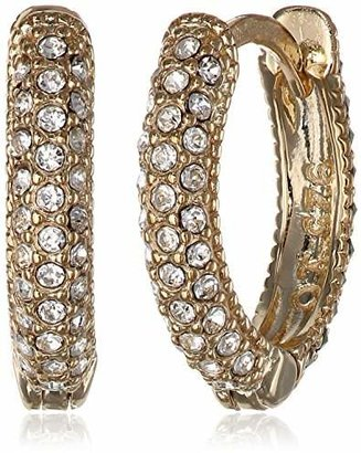 """Judith Jack """"Golden Class"""" Sterling Silver and Gold-Tone Marcasite Crystal Huggie Hoop Earrings $90 thestylecure.com"""