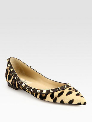 Valentino Leopard-Print Calf Hair & Leather Ballet Flats