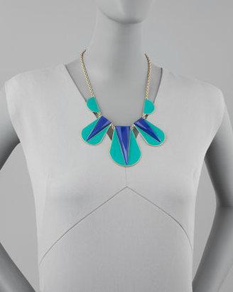 Panacea Colorblock Bib Necklace, Green/Blue