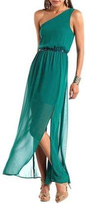 Charlotte Russe Belted One Shoulder Maxi Dress