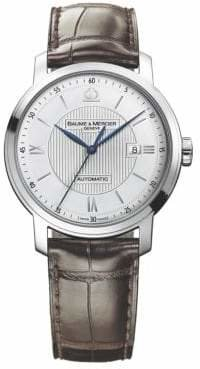 Baume & Mercier Baume& Mercier Baume& Mercier Men's Classima 8731 Stainless Steel& Alligator Strap Watch - Silver Brown
