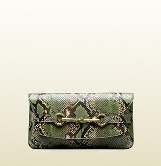 Gucci Bright Bit Jasmine Green Python Clutch With Horsebit Detail
