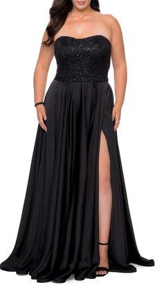La Femme Plus Size Strapless Satin Gown with Sequin Lace Bodice