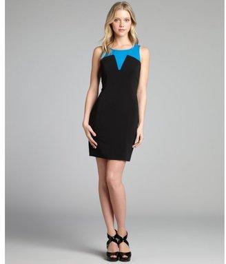 Jay Godfrey cerulean and black silk blend colorblock sleeveless dress