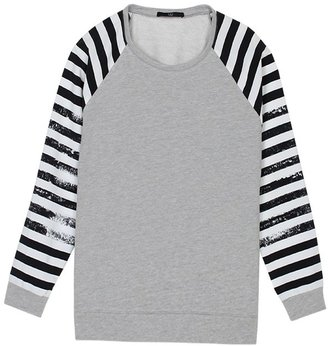 Tibi Distressed Stripe Sweatshirt