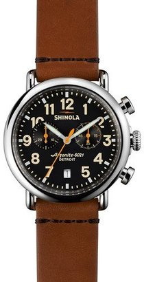 Shinola 41mm Runwell Chrono Watch, Tan/Black $750 thestylecure.com