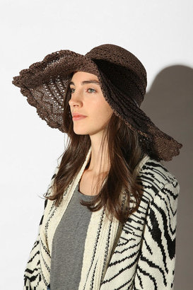 Urban Outfitters Lacy Edge Floppy Straw Hat