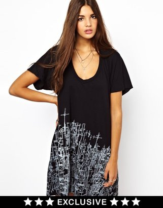 Religion Cardinal Cross Print T-Shirt Dress Exclusive To ASOS