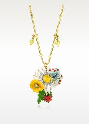 Les Nereides Champetre Flowers, Ladybug and Butterfly Necklace