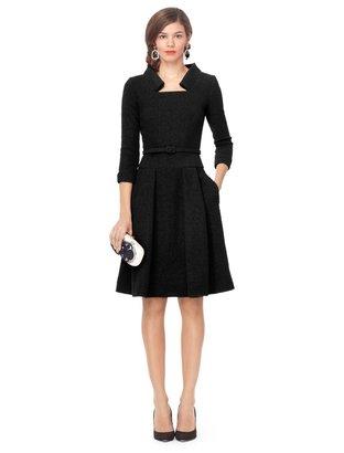 Oscar de la Renta 3/4 Sleeve Pleated Dress