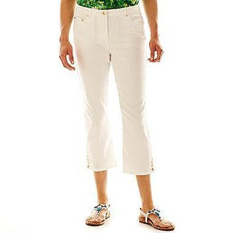 JCPenney Lark Lane® Mosaic Tiles Embellished Stretch-Denim Capris