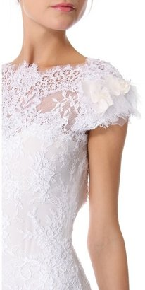 Marchesa Embroidered Layered Laces Gown