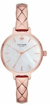 Kate Spade Metro Rose Gold Stainless Steel Half Bangle Bracelet Watch