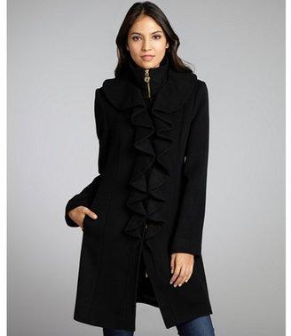 Elie Tahari black stretch wool ruffle front 'Lina' coat