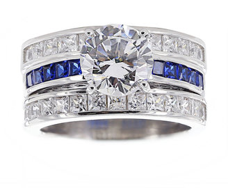 FINE JEWELRY DiamonArt Cubic Zirconia & Lab-Created Blue Sapphire Bridal Ring and Guard $406.23 thestylecure.com
