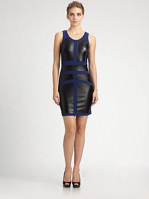 Nicole Miller Ponte/Leather Combo Sheath Dress