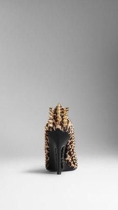 Burberry Studded Animal Print Wedge Pumps