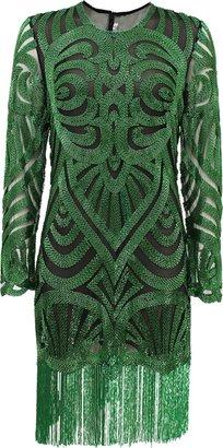 Naeem Khan Long Sleeve Swirl Bead Dress