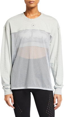 adidas by Stella McCartney Long-Sleeve Breathable Mesh Paneled Top