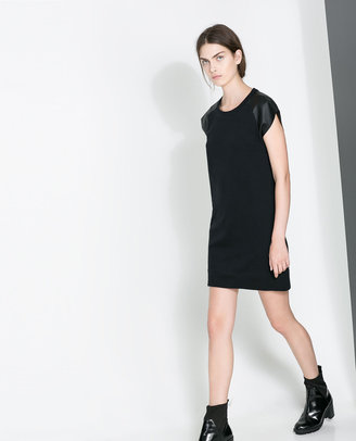 Zara Dress With Faux Leather Sleeves