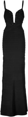 Herve Leger Embellished Evening Gown in Black