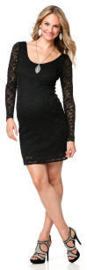 Motherhood Jessica Simpson Long Sleeve Lace Trim Maternity Dress