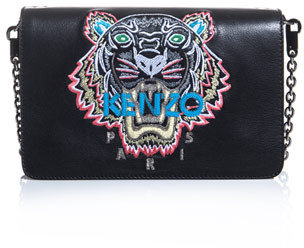 """Kenzo [a href=""""/womens a] Embroidered tiger leather bag"""