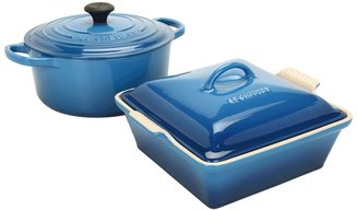 Le Creuset 3.5 Qt.Signature Round French Oven with Heritage Square Casserole (Marseilles) - Home